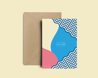 """Carte postale vacances - Carte déco """"Jolie plage"""" + Enveloppe Kraft recyclé"""