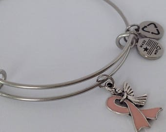 Cancer, Cancer Awareness, Pink Ribbon, Breast Cancer Awareness Charm Bracelet, Pink Ribbon Charm Bracelet, Pink Ribbon Charm