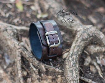 "Leather wristband ""Artus"" antique black"