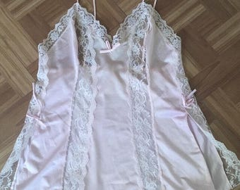 1970's JCPenney Light Pink Satin and Lace Nightie (M) • Vintage Nightgown