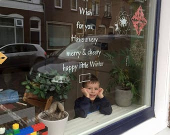 Windowdrawing Quote Holidays - Greeting Card on your window - Chalkstick drawing wish - Printable Quote Winter