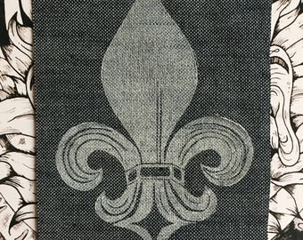 Lino Print Fleur de Lis Patch on Blue Denim