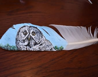 Great Grey Owl - Acrylic Painting on Goose Feather