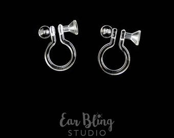 Pair of Invisible Clip on Earrings with Cup Front