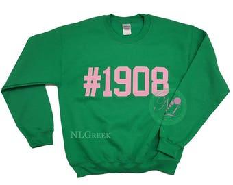 AKA Sweatshirt | #1908 Pink on Green Sweatshirt | Alpha Kappa Alpha Sorority