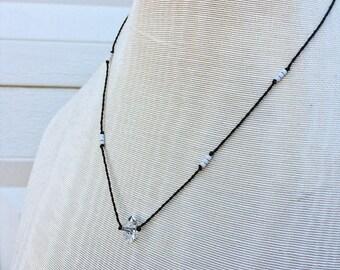 White beaded herkimer diamond necklace