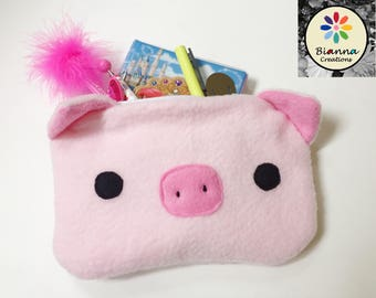 """9x6"""""""" Kawaii Baby Piglet Face Pouch, Japanese Anime Lover Animal Case, MakeUp Cosmetic Bag, Kids Travel Buddy, 3DS Case, Pen Pencil Storage"""