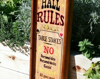 Vintage wall plaque - wood lacquered sign - 1973 - Gambling Hall Rules - bar game room poker decor - Americana Plaques - Wallace Berrie