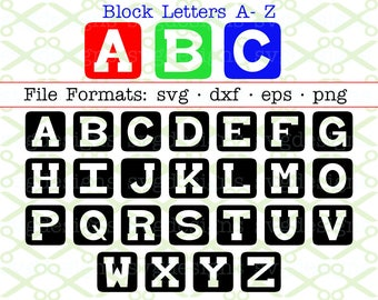 BLOCK Letters Svg, Dxf, Eps, Png, 26 Capital Letters Svg, Kids Font Svg Letters, Baby Blocks Font, Square Monogram Letters,Cricut Silhouette