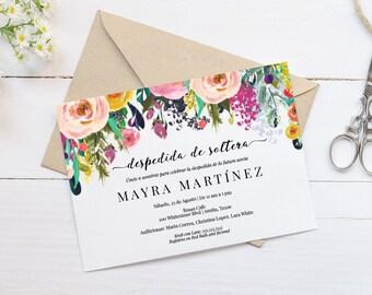 Despedida de Soltera Invitation Template, Bridal Shower Invite, Instant Download, Digital Printable, Spanish, MAM106S_01