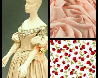 Custom Made Queen Victoria crele and Lace peach and strawberry Civil War Ball Gown