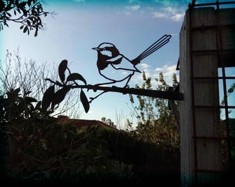 Fairy Wren Metal Corten Garden Art Sculpture Outdoor Steel Blue Superb Wagtail