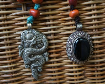 Rosary made with Mountain Laurel trade beads + Antler + Nepal coin pendant