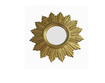 Vintage golden sunburst mirror - gilded sunburst mirror - vintage butler mirror - vintage convex mirror - golden mirror - vintiques
