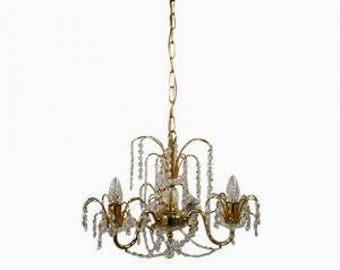 Vintage brass crystal chandelier 1970s - vintage classic crystal chandelier