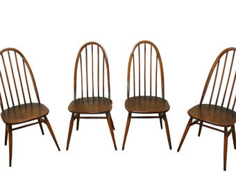 Vintage highback spindle dining chairs by Ercol - made in England - 1960s dining chairs - elm wooden chairs - vintiques mid century