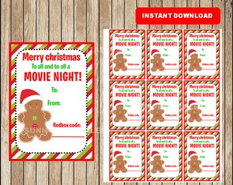 Printable Christmas Redbox Gift Tag - Merry Christmas and to all a MOVIE NIGHT - Instant Download