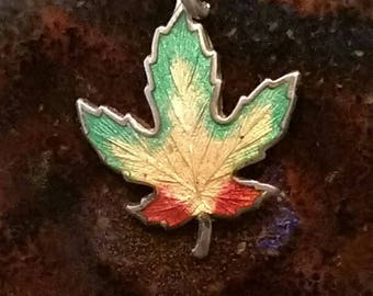 Vintage sterling silver enamel maple leaf charm necklace pendant or keychain charm