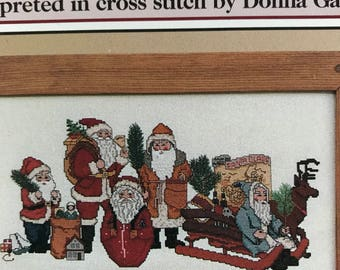 Set of 2 Counted Cross Stitch The Schiffer Collection Father Christmas i and II pattern booklets