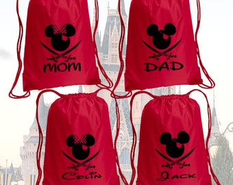 Minnie  Pirate Drawstring Bag, With Personalized name, Disney Bag, Minnie  Bag, Vacation bag, Family bags, Mickey Drawstring Bag