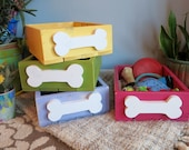 Fun storage boxes for dog toys and treats/Can make in any color. Listed price is per box.