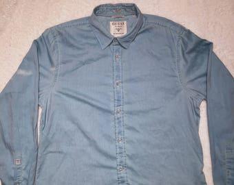 Guess Long Sleeve Shirt Vintage Xl Slim