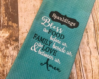 Grace Prayer Kitchen Towel - Personalized Embroidered Religious - Housewarming Gift - Choose your colors - Bless the Food, Family, Love