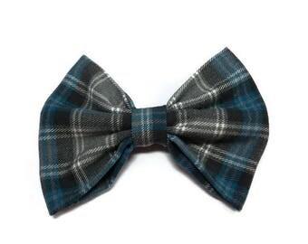 Blue grey bowtie in tartan pattern adult bow tie kids bowtie dogs cats accessories