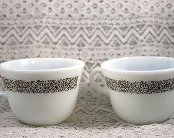 Pyrex Coffee Cups, Set of 2 Pyrex Woodland Pattern, Pyrex Woodland Coffee Cups, Brown Woodland Patterned Coffee Cups
