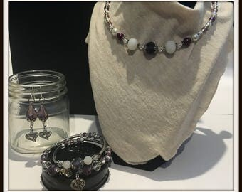 Purple, White Glass and Crystal Memory Wire Necklace and Bracelet Set