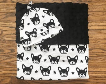 Monochrome French Bulldog Baby Blanket with Matching Baby Beanie Knotted Hat, French Bulldog Printed Knit, Silky Minky, Gender Neutral