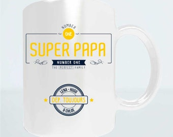 "Christmas dad gift - Mug to be ""Super Dad - Number one"" - personalized dad Christmas gift idea - gift fathers day"