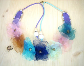 """Carnival"" organza flowers bib necklace"