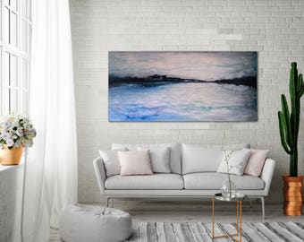 ORIGINAL ABSTRACT PAINTING 48x24 Large Painting Canvas Art Seascape Blue Abstract Gray Abstract Large Wall Art Wall Decor Wall Art