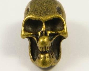 Pearl skull aged bronze look