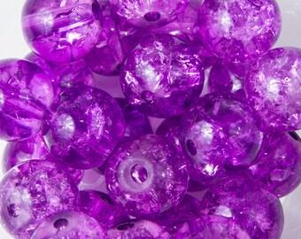 50 purple Crackle glass beads