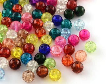 10mm assorted color crackled glass beads