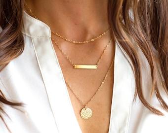 Monogram Layered Necklace   Gold Layered Personalized Necklace   Layered Name Necklace   Layered Bar Necklace   Layered Disc Necklace