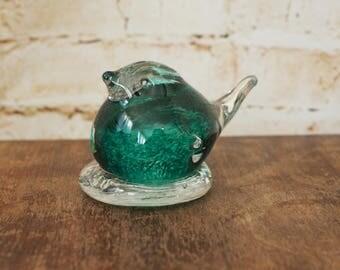 Plump Green Glass Bird Paperweight or Ornament
