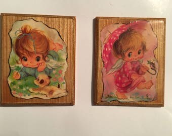 Vintage Wooden Plaques With Little Girls