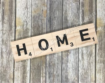 Wooden Tile HOME Sign