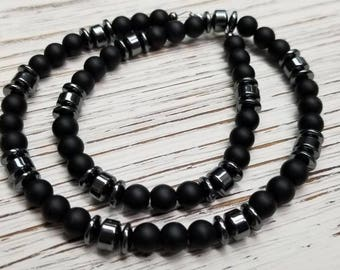 Black Matte Onyx and Hematite Men's Necklace. Beades necklace. Black necklace. NICKEL FREE. Gift for him.