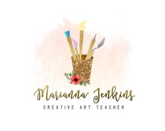 Art Logo, Artist Logo, Painting Logo, Painter Logo, Paints Logo, Brush Logo, Gold Logo Design, Cursive Logo, Floral Brush Logo, Elegant