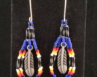 Handmade Native American Feather Earrings