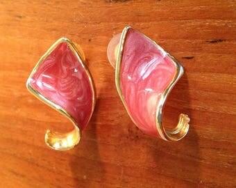 Vintage Enamel Twisted Gold Toned Earrings, Pierced, Salmon Color