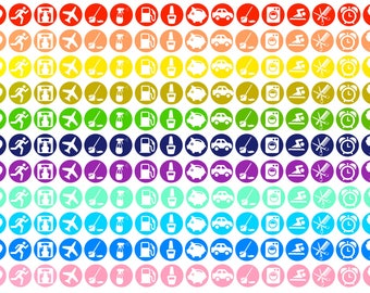 Rainbow functional icon planner stickers