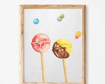 Nursery wall art lollipos marker, nursery decor, candy Print, lollipop nursery prints, nursery  print, print for nursery,sweet nursery, SMIN