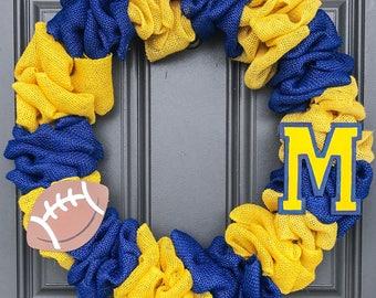 Michigan football wreath, michigan wreath, blue and maize wreath, michigan football burlap wreath