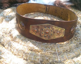 Gun belt 14 cm wide, bronze fittings, verschnörkelt medieval reenactment, replica