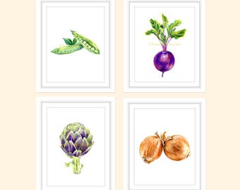 Vegetables Print Set of 4, Kitchen Wall Art, Kitchen Prints, Kitchen Decor, Food Prints, Vegetables Art, Vegetables Poster, Restaurant Decor